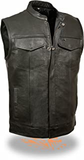 SOA Men's Basic Leather Motorcycle Vest w/ 2 Inside Gun Pockets Collared & No Collar versions (XXX-Large, With Collar)