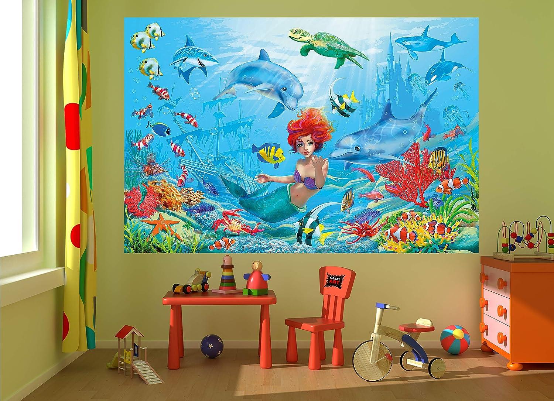 Meerjungfrau 140 cm x 100 cm Wandbild Illustration M/ärchen Motiv Nixe Unterwasserwelt Abenteuer Fische Schiffswrack Meer Bild Dekoration GREAT ART XXL Poster Kinderzimmer