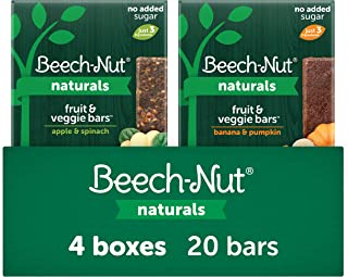 Beech-Nut Naturals Fruit and Veggie Bars Variety Pack, Stage 4, 3 Simple Ingredients (Pack of 4 boxes, 5 count each)