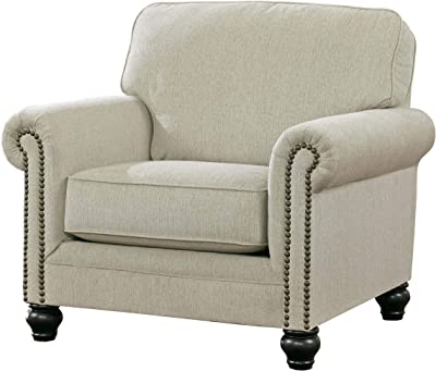 Benjara Fabric Upholstered Wooden Chair with Nailhead Trim Accents, Beige