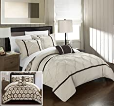 Chic Home Marcia 3 Piece Reversible Comforter Set Super Soft Microfiber Pinch Pleated Ruffled Design with Geometric Patterned Print Bedding with Decorative Pillows Shams, Twin Beige