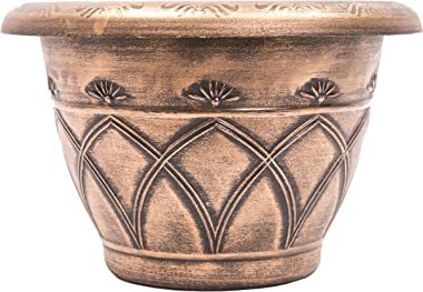 "Medieval Arch Rustic Country Look Plastic Planter 12X8"" Flowerpot for Indoor, Outdoor, Garden, Patio, Office Ornaments, Home Decor, Long Lasting Reusable, Light Weight, Water Resistant (Gold)"