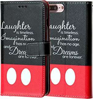 Laughter is Timeless iPhone 8 Plus Wallet Case, IMAGITOUCH Folio Flip PU Leather Wallet Case with Kickstand Wrist strap and Card Slots for iphone 8 Plus - Slim Book Disney Quotes Wallet