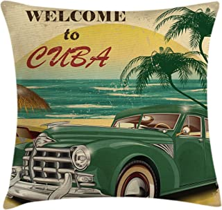 Ambesonne Retro Throw Pillow Cushion Cover, Nostalgic Welcome to Cuba Print with Classic Car Beach Ocean Palm Trees, Decorative Square Accent Pillow Case, 16