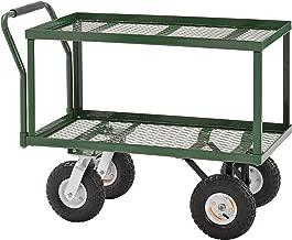 Sandusky TW3820 Green Heavy Duty Steel 2-Deck Flat Wagon, 550 lb. Capacity, 33