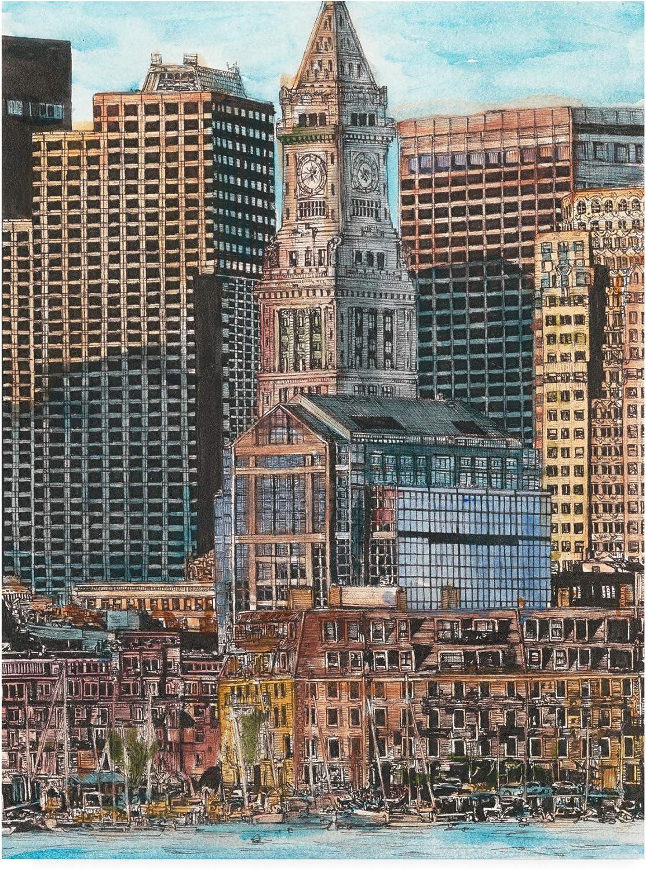 Trademark Fine Art US Cityscape Boston by Melissa Wang, 14x19
