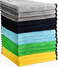 HERKKA Microfiber Cleaning Cloths, 15 Pack 14 x 14 inch Double-Side Plush & Super Absorbent Car Cleaning Towels for Cars D...