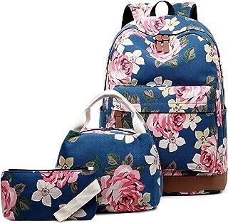 Abshoo Canvas Dot Backpack Cute Teen Girls Backpacks Set 3 Pcs School Bookbags, Floral Navy (Blue) - BPDG10B03