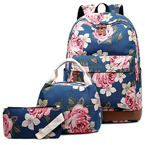 d63922df255c Abshoo Canvas Dot Backpack Cute Teen Girls Backpacks Set 3 Pcs School  Bookbags