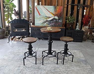 "FUBIRUO Vintage Industrial Bar Table 32.3-36.2"",Adjustable Swivel Pub Table, Kitchen Dining Coffee Bistro Table Metal Hyd"