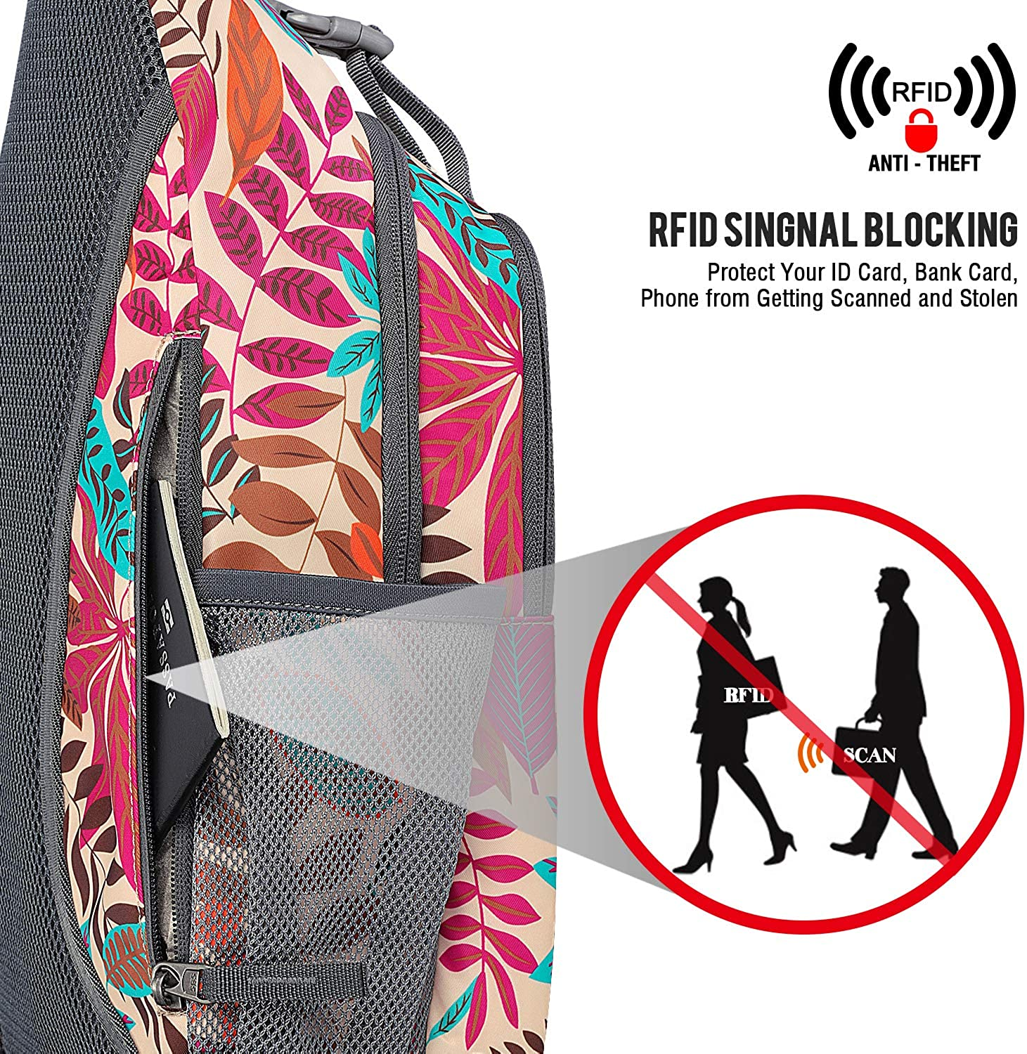 G4Free Sling Bag RFID Blocking Sling Backpack Crossbody Chest Bag Daypack for Hiking Travel