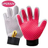 HooSeen Grooming Glove Pair- Upgraded 259 Longer Tips Tangles Prevention Pet Massage Bath Five Fingers Brush Adjustable Wristband Gentle Deshedding Larger ...
