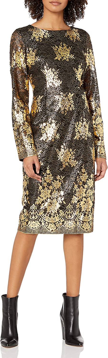 Nicole Miller New York Women's Long Sleeve Metallic Lace Fitted Cocktail Dress