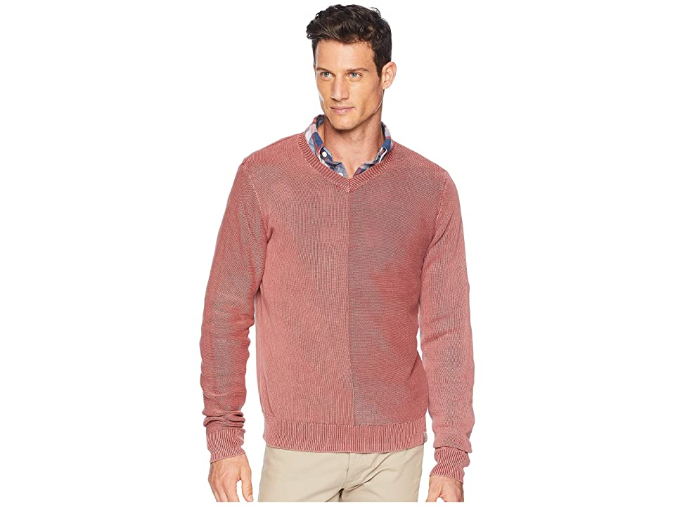 Lucky Brand Washed V-Neck Sweater (Red Ochre) Men
