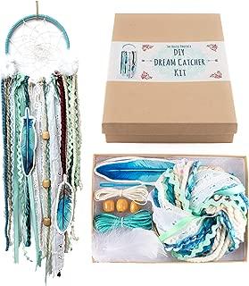 DIY Dream Catcher Craft Kit Project Gift Box Set Aqua Blue Boho Wall Hanging Stocking Stuffer Christmas Gift for Kids