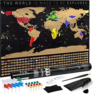 """Scratch Off Map of the World – Gold Foil Premium Quality Places You'll Go Travel Bucket List Vivid Colors Glossy Finish Poster Print, 33x23"""" XL Big Deluxe Journal Kit Traveling Gift for Travelers"""