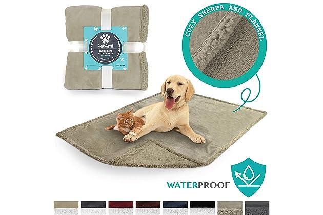 PetAmi Waterproof Dog Blanket for Bed, Couch, Sofa   Waterproof Dog Bed Cover for Large Dogs, Puppies   Sherpa Fleece Pet Blanket Furniture Protector ...