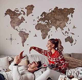 Enjoy The Wood World Map Wall Map Art Large Push Pin Map of the World Travel map Rustic Home decor Office decor Wall decor Living room modern design home 100x50cm, 150x90cm, 200x102cm