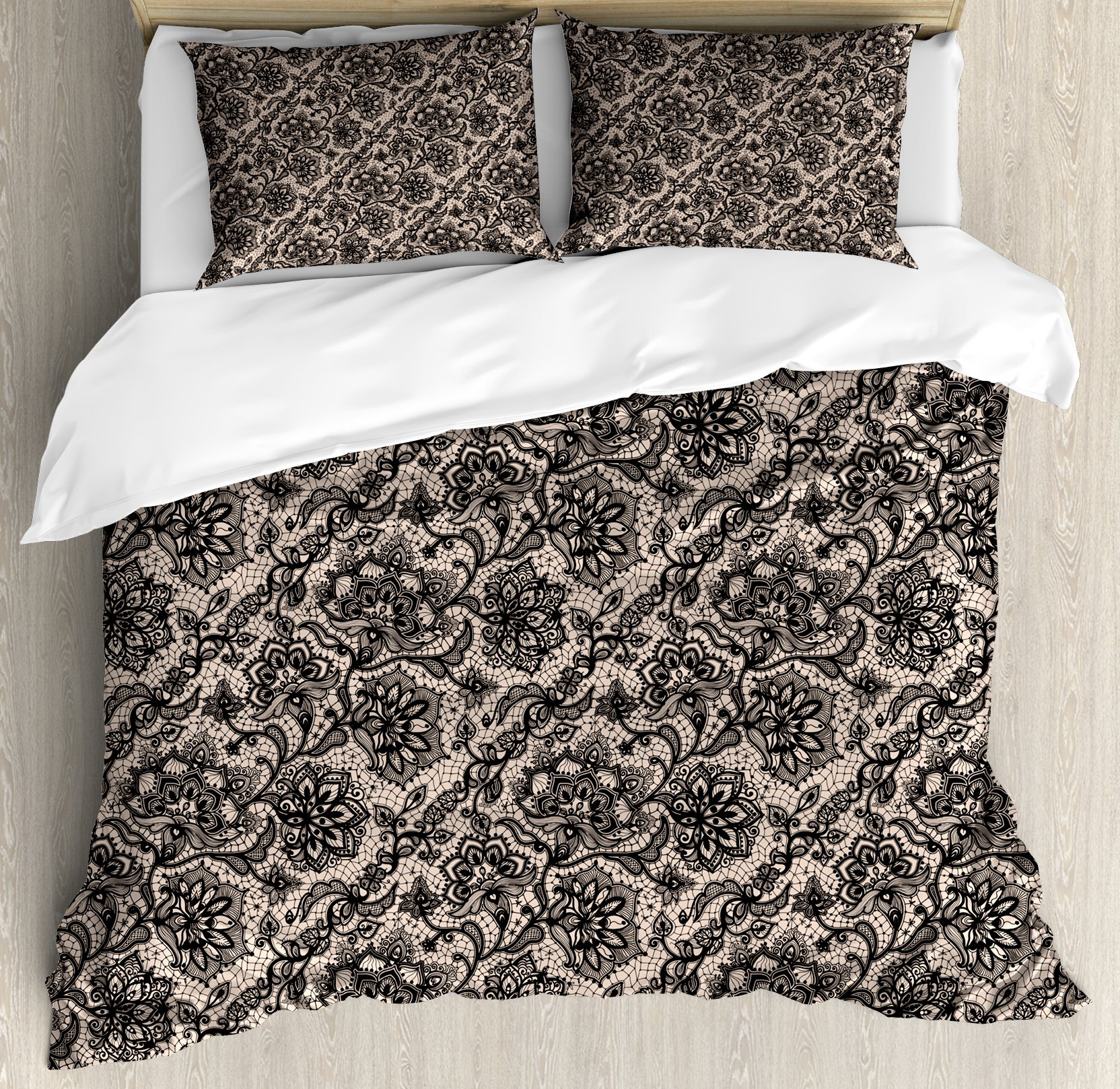 Ambesonne Gothic Duvet Cover Set Abstract Graphic Lace Pattern With Flowers Butterflies Old Fashioned Nature Inspired Decorative 3 Piece Bedding Set With 2 Pillow Shams Queen Size Black Tan Home