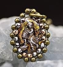 Aquarius Hand Painted Abstract Swarovski Crystal Zodiac Astrology Resin Pendant