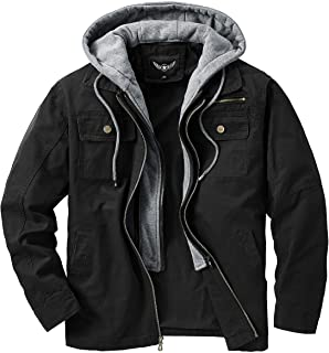 JYG Men's Casual Cotton Military Windbreaker Jacket with Removable Hood