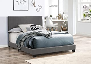 Crown Mark 5271PUGY-Q Erin Upholstered Bed, Queen, Grey
