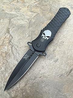 Dark Side Blades Punisher Black Aluminum Handle Knife Folding Pocket Handy Knife