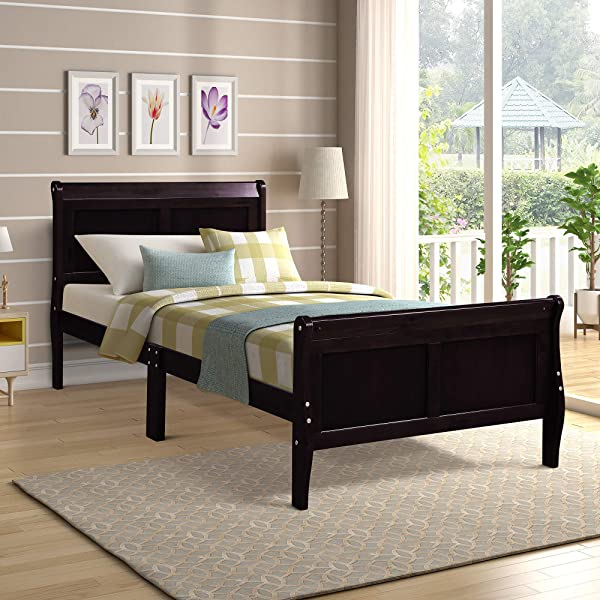 Wood Platform Bed Twin Bed Frame Mattress Foundation Sleigh Bed With Headboard Footboard Wood Slat Support By HARPER BRIGHT DESIGNS
