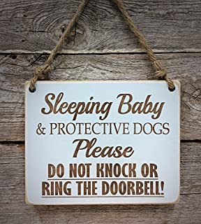Sleeping Baby & Protective Dogs - gray - Please Do Not Disturb Sign - Baby Sleeping Sign - Baby Shower Gift