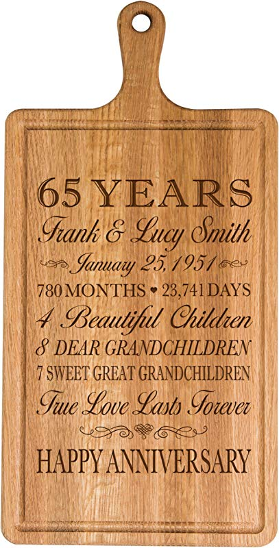 LifeSong Milestones Personalized 65th Year For Him Her Wife Husband Couple Cheese Cutting Board Customized With Year Established Dates To Remember For Wedding Gift Ideas