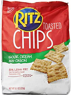 Ritz Crackers Toasted Sour Cream And Onion Chips, 8.1- Ounce Bag