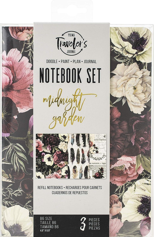 Prima Marketing Prima Traveler's Journal Personal Refill Notebook 3/Pkg-Midnight Garden, Monthly/Weekly/Blank