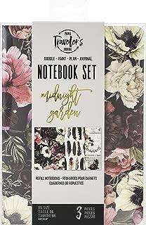 Prima Marketing 636104 Prima Traveler's Journal Personal Refill Notebook 3/Pkg-Midnight Garden, Monthly/Weekly/Blank