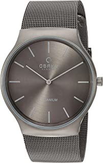 Obaku Men's Titanium Analog-Quartz Watch with Stainless-Steel Strap, Grey, 23 (Model: V178GXTJMJ)