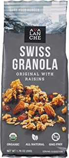 Avalanche Organic Original w/Raisins Swiss Granola, 1.76 Ounce Bag (Pack of 48) Organic, Non-GMO, All Natural, Kosher, Packet of Granola, Convenient Snack On The Go, Can Pour in Milk or Yogurt