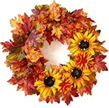Tiny Land 24 Inches-Fall-Wreath for Front-Door-Decor Gift Box Included - Handcrafted Rattan Base - for Autumn & Thanksgivi...