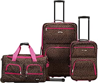 Vara Softside 3-Piece Upright Luggage Set, Pink Leopard,...