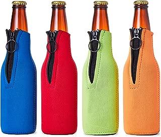 Juvale Beer Bottle Insulator Sleeves (4 Pack) Neoprene Cooler with Zipper Assorted Colors
