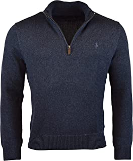 Polo Ralph Lauren Mens Half Zip Ribbed Trim Cotton Sweater