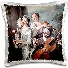 3D Rose The Five Sense of Hearing c 1750 by Philippe Mercier Pillow Case, 16 x 16