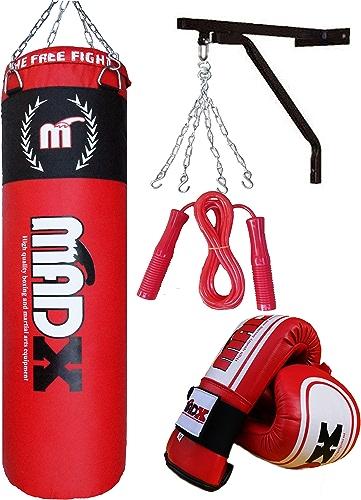 Lots de 5 pièces pour boxeur avec sac de frappe de boxe garni 1,5 m, support, chaîne, gants, corde à sauter - MADX