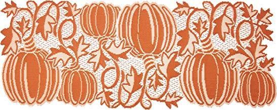 "Heritage Lace Pumpkin Vine 14""x36"" Orange Table Runner"