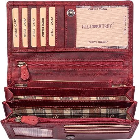 Hill Burry Cartera de Cuero para Mujer | Billetera - Monedero de Cuero Genuino con Aspecto Vintage | Mujeres - Hombre | XXL Largo Grande Capacidad (Rojo)