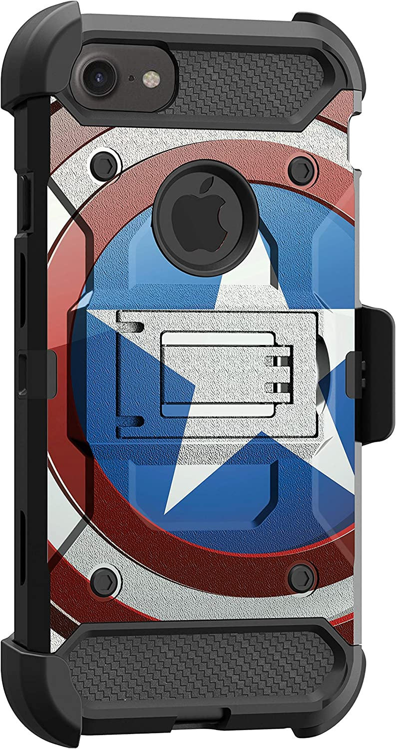 MINITURTLE Compatible with Apple iPhone SE 2, iPhone SE (2020) Triple Layer Belt Clip Holster Armor Kickstand Case [Max Guard] - America Shield