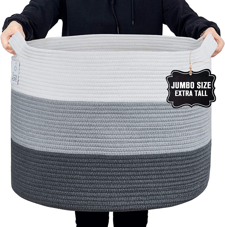 Nunus Home, Jumbo Woven Cotton Rope Basket (22