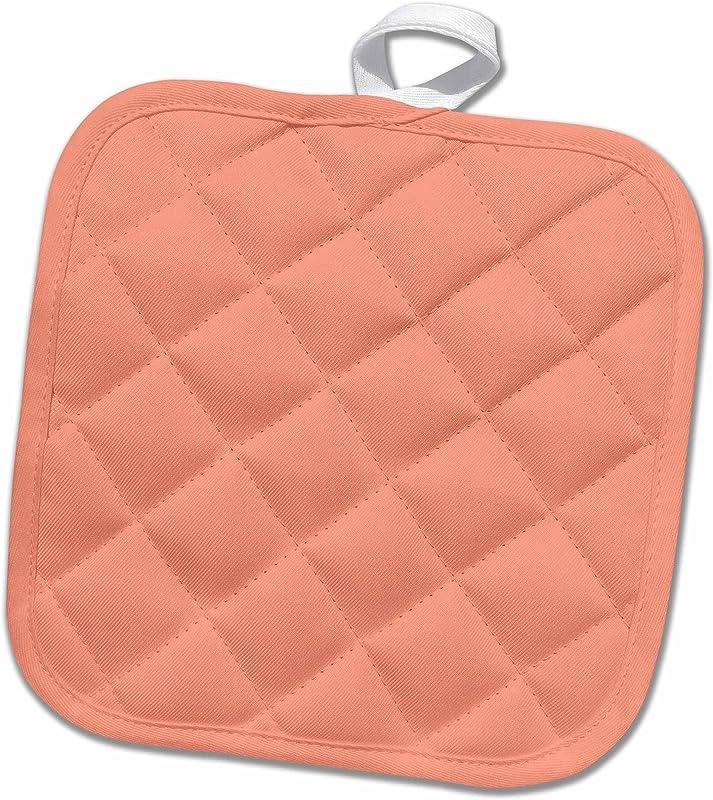 3D Rose Coral Orange Salmon Pink Peach Apricot Plain Simple One Single Solid Color Pot Holder 8 X 8