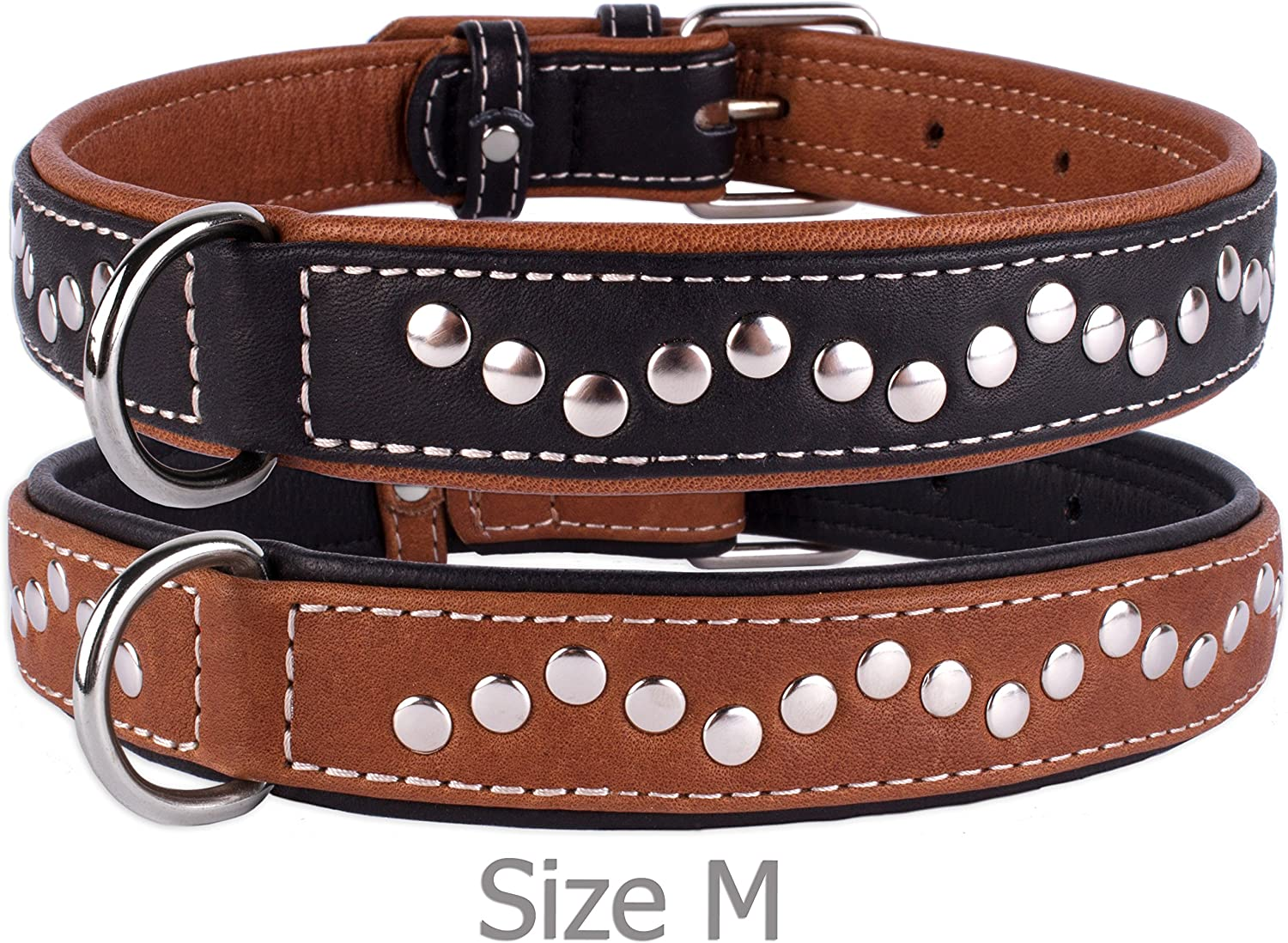 CollarDirect Handmade Studded Dog Collar, Genuine Leather Collar for Dogs, Soft Padded Leather Puppy Collar Brown Black Small Medium (Brown, Neck fit 17   19 )