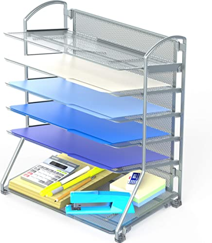SimpleHouseware 6 Trays Desktop Document Letter Tray Organizer, Silver