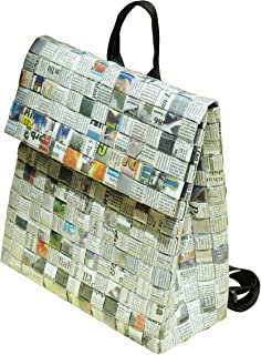 Backpack made of upcycled newspaper - FREE SHIPPING - vegan recycled handmade unique paper bag reduce reuse recycle upcycling upcycle shredded organic gray grey handbags art woven back pack
