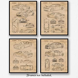 Original Dodge Charger, Challenger, Viper, Demon SRT Patent Poster Prints, Set of 4 (8x10) Unframed Photos, Wall Art Decor Gifts Under 20 for Home, Office, Studio, Student, Teacher, Cars & Coffee Fan